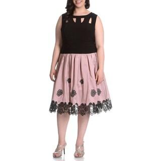 S.L. Fashions Women's Plus Size Applique Hem Party Dress