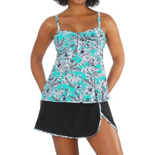 Mazu Swim Plus Tropical Sketch Draped Bandeau Tankini Top