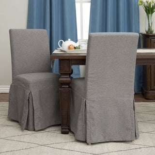 Bessie Heather Grey Slipcover Side Chairs (Set of 2)