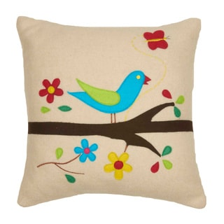 Chirping Bird Deco Throw Pillow