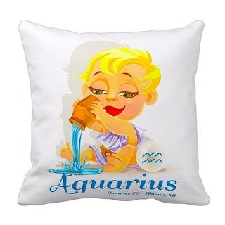 Mia Lee Baby Zodiac Aquarius Throw Pillow