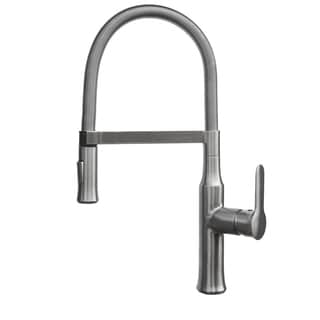 Geyser TF61-B Brushed Nickel Commercial-style Coiled Spring Kitchen Pull-down Faucet with Magnetic Docking and Dual Mode Sprayer