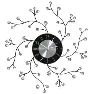 Midcentury Modern 20-inch Bling Crystal Jewels Wall Clock