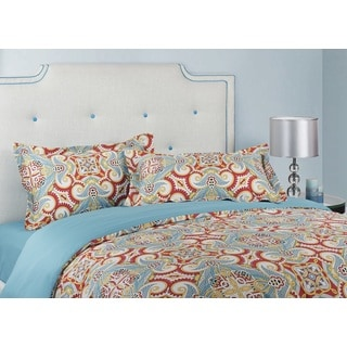 Red Moraccan Cotton 3-piece Queen-size Duvet Cover Set