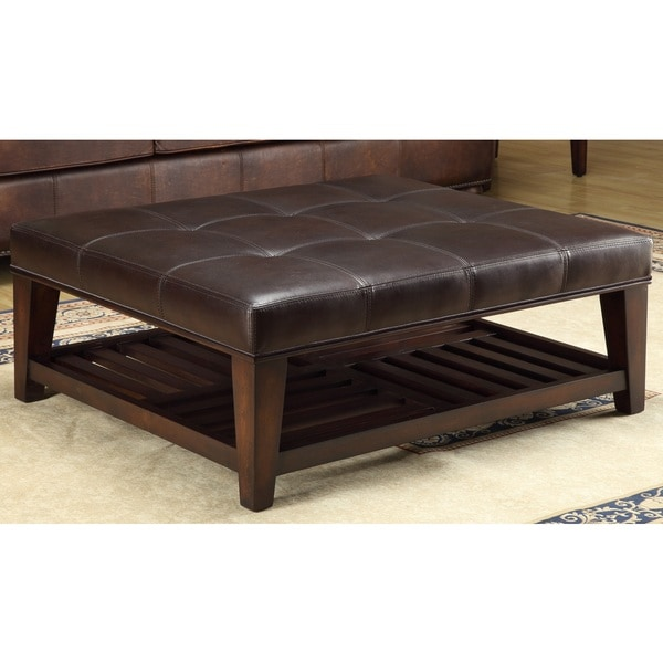 Lazzaro Leather Hayton Tufted Leather Shelf Cocktail Table
