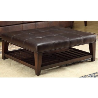 Abbyson living manchester dark brown leather square coffee table ottoman 16735262 overstock Brown leather ottoman coffee table