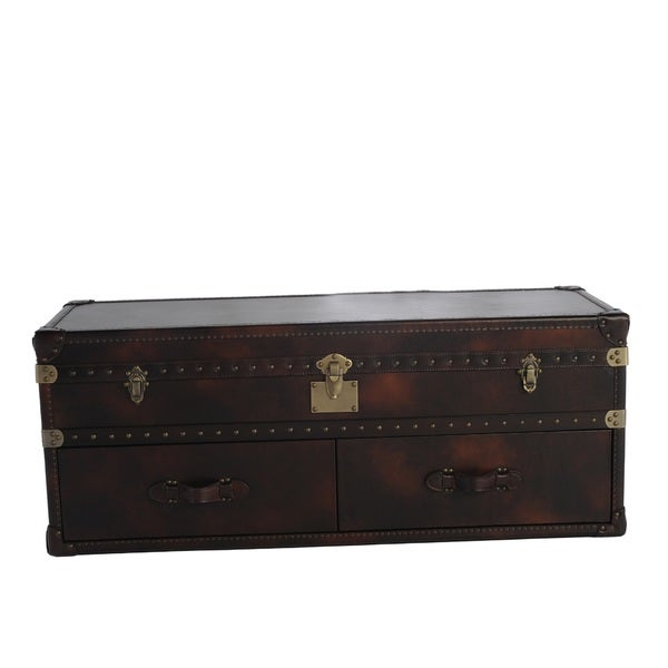 Lazzaro Leather General Two Drawer Leather Cocktail Table 15463658