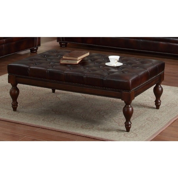 Lazzaro Leather Emmy Tufted Leather Cocktail Table 17307692 Shopping Great
