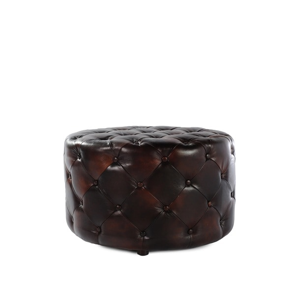 Lazzaro Leather Simon Round Drum Leather Tufted Ottoman