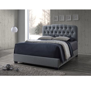 Cayce Transitional Grey Fabric Upholstered Button Tufted Bed