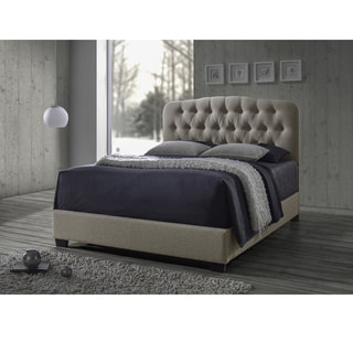 Cayce Transitional Brown Fabric Upholstered Button Tufted Bed