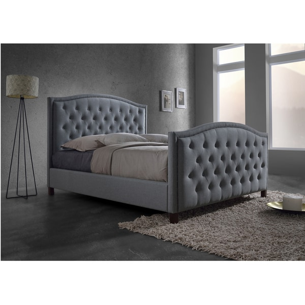 Baxton Studio Sarter Contemporary Grid-Tufted Grey Fabric Upholstered King-size 2-drawer Storage Bed