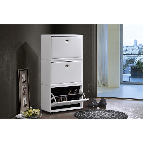 Petito Contemporary 3-Tier White Leather Upholstered Shoe Cabinet