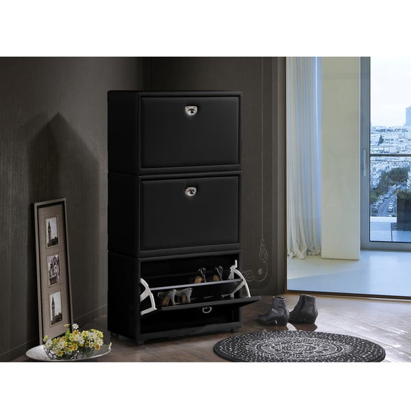 Petito Contemporary 3-Tier Black Leather Upholstered Shoe Cabinet