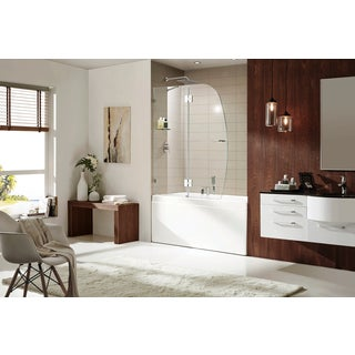Paragon Bath AURORA LUX Premium (10mm) Thick Clear Tempered Glass, Size: 48 in. W x 58 in. H, Frame-less Shower Door in Chrome