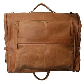 Amerileather Vintage Tan Leather 3-suit Garment Bag