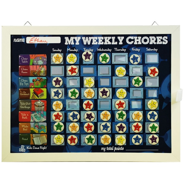 My Weekly Chores Blue Rockets Magnetic Dry-Erase Rewards Chart