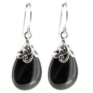 Queenberry Sterling Silver Filigree Flower Bail Teardrop Black Onyx Charm Dangle Earrings