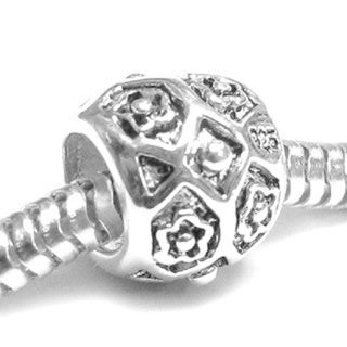 Queenberry Sterling Silver Flower Barrel Tube European Bead Charm
