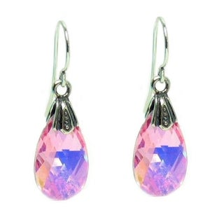 Queenberry Sterling Silver Light Pink Teardrop Crystal Charm Dangle Earring