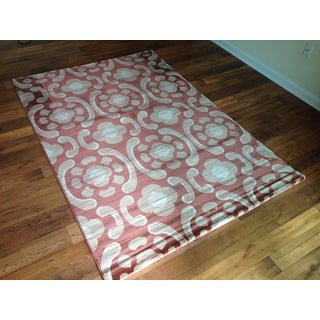 Burnt Orange Beige Transitional Contemporary Area Rug (6'6 x 9'6)