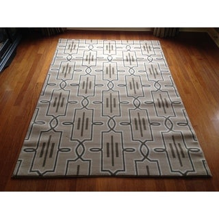 Lattice Brown Beige Soft Plush Contemporary Area Rug (6'6 x 9'6)
