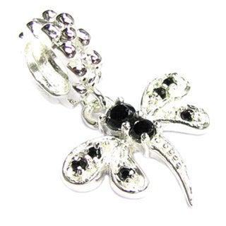 Queenberry Sterling Silver Dragonfly Cubic Zirconia Jet Black Dangle European Bead Charm