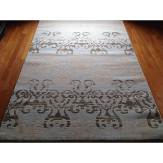 Grey Brown Geometric Transitional Contemporary Area Rug (6'6 x 9'6)