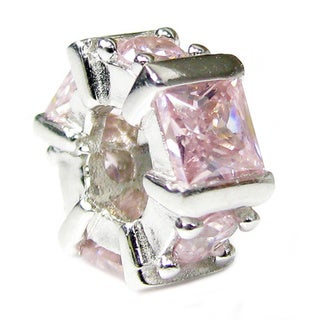 Queenberry Sterling Silver Hexagon Pink Cubic Zirconia European Bead Charm