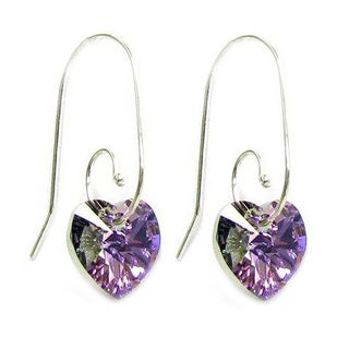 Queenberry Sterling Silver Crystal Vitrail Light Heart Dangle Swirl Hook Earrings