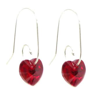 Queenberry Sterling Silver Siam Red Heart Sterling Swirl Hook Earrings