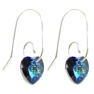 Queenberry Sterling Silver Bermuda Blue Heart Dangle Swirl Hook Earrings