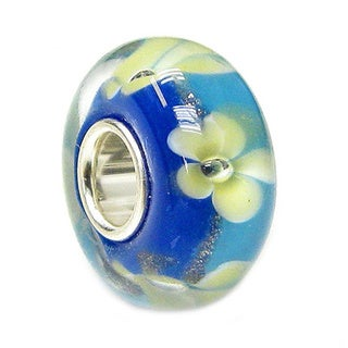 Queenberry Sterling Silver Blue Gold Sand Yellow Flower Murano Glass European Bead Charm