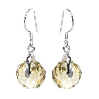 Queenberry Sterling Silver Briolette Bead Rondelle Golden Shadow Crystal Dangle Earrings