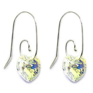 Queenberry Sterling Silver Aurora Borealis Heart Dangle Swirl Hook Earrings