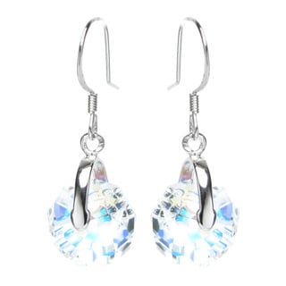 Queenberry Sterling Silver Briolette Rondelle Aurora Borealis Dangle Earrings