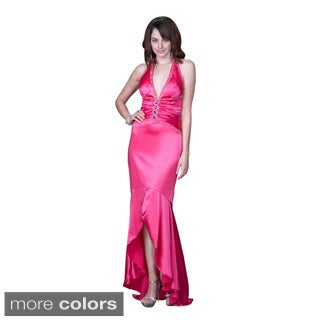 Women's Satin Halter Ruffled Hi-low Hem Gown
