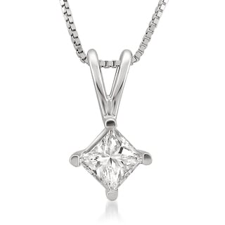 14k White Gold 3/4ct TDW Princess-cut White Diamond Solitaire Necklace (H-I, I1)