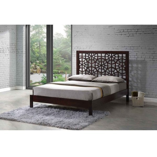 Greenway Circle Patterns Engraved Dark Brown Wooden Modern Contemporary Laser-cut Platform Bed with Tall Headboard
