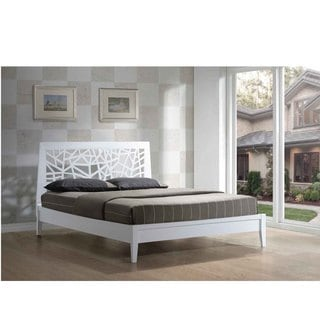Graber White Solid Wood Tree Branch Pattern Platform Bed