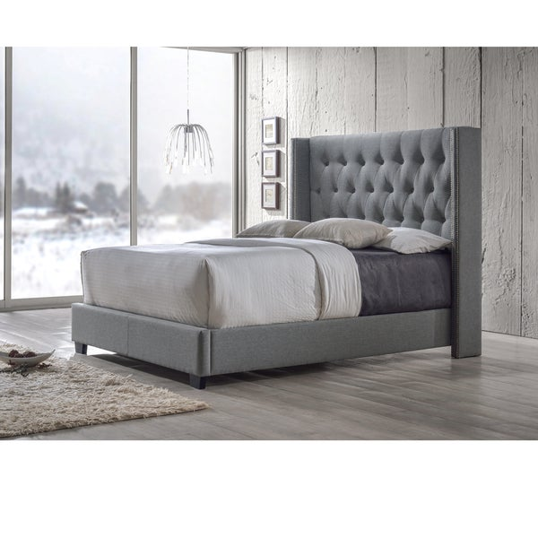 Katherine Contemporary Espresso Button Tufted Grey Upholstered Bed