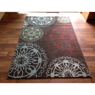 Brown Multicolors Transitional Modern Contemporary Area Accent Rug (2' x 3')