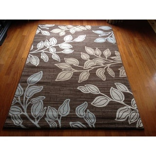 Floral Grey Blue Transitional Contemporary Area Accent Rug (2' x 3')
