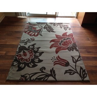 Brown Beige Transitional Floral Contemporary Area Rug (2' x 3')