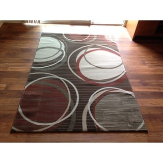 Grey Brown Beige Geometric Modern Contemporary Area Rug (2' x 3')