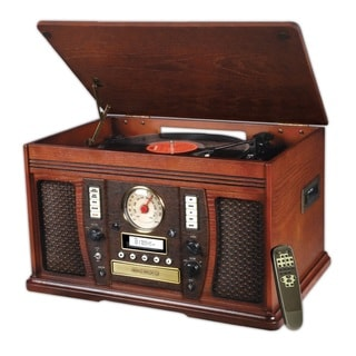 Innovative Technology ITVS-750 Classic Aviator 6-in-1 Mahogany Wooden Music Center