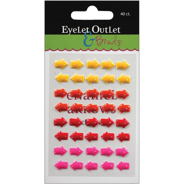 Eyelet Outlet AdhesiveBack Enamel Arrows 40/PkgYellow/Red/Pink
