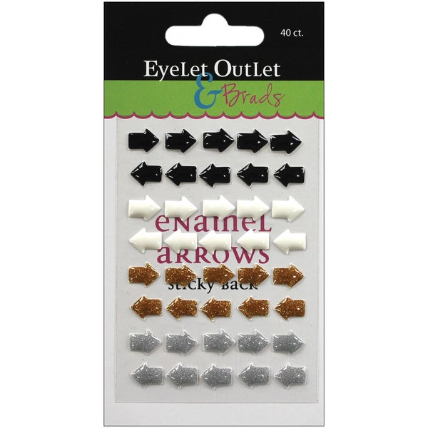 Eyelet Outlet AdhesiveBack Enamel Arrows 40/PkgBlack/White/Silver/Gold
