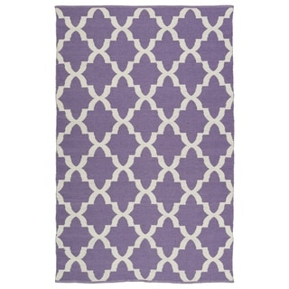Indoor/Outdoor Laguna Lilac and Ivory Trellis Flat-Weave Rug (8'0 x 10'0)