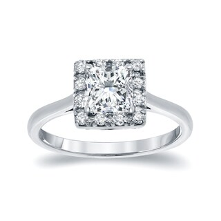 Auriya 14k White Gold 1ct TDW Princess-cut Diamond Halo Engagement Ring (I-J, I1-I2)